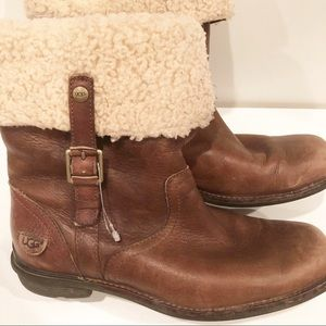 Ugg Bellvue Foldover Leather and Sheepskin Boots